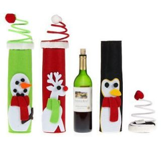 Holiday Wine Bottle Gift Boxes Reusable Snowman Penguin Reindeer