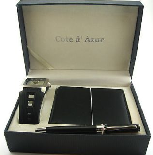 Cote dAzure Boxed Watch, Wallet & Pen