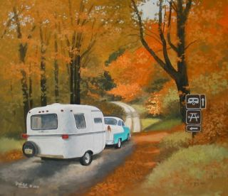 Casita Scamp Trillium Vintage Travel Trailer RV ART