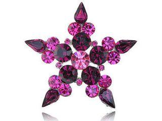 Amethyst Crystal Rhinestone Five Point Star Symbol Necklace Pendant