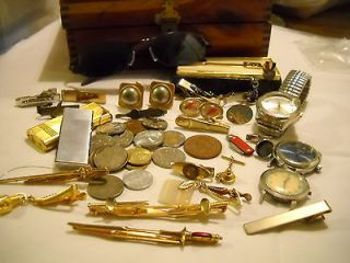 VNTG LOT MENS JEWELRY BOX COINS TIE CLIPS CUFF LINKS WATCHES LIGHTERS