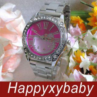 Rome Hello Kitty Crystal Rose Steel Wrist watch HP90B