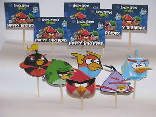 12 Angry Birds SPACE BIRDS Birthday Cupcake Picks, Cake Toppers