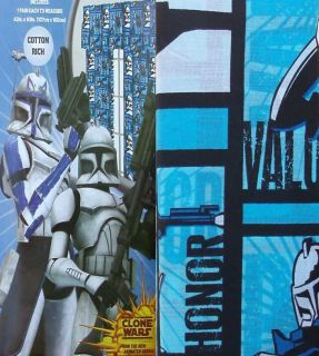 STAR WARS CLONE WARS BLUE CURTAIN DRAPES WINDOW TREATMENT NEW