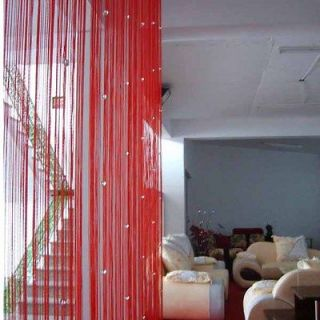 Red Door Window Room Divider String Curtain Crystal Beads Strip Tassel