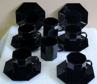 Arcopal France Black Novoctime Octagon Set of 6 mini Cups & Sauce