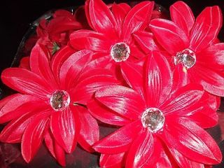 lot 12 TROPICAL gerbera DAISY flower WEDDING tutu HAIR glitz NEW red