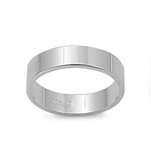 Personalized 5mm Flat Band Sterling Silver Promise Ring   Free