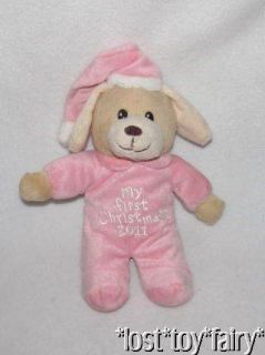 Dan Dee Pink My First Christmas 2011 Brown Puppy Dog Plush Stuffed