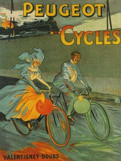 RACE Bicycle Train Bike Peugeot Cycles French Fine Vintage Poster