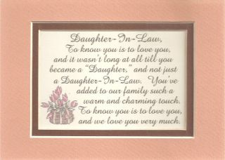 Charm DAUGHTERs IN LAW Family LOVE verses poems plaques