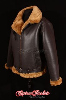 Mens SHEARLING B3 RAF BOMBER Ginger Sheepskin Aviator Cockpit Pilot