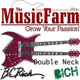 BC Rich Double Neck Bich Electric Guitar with Case   Trans Red