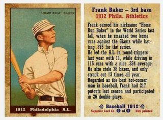 1912 Home Run Baker   limited edition rare Philadelphia Athletics