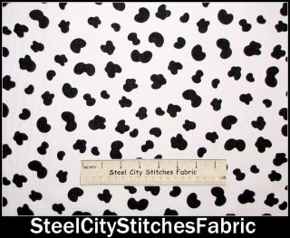 Timeless Treasures Moo Cow Hide Print Black Spots On White Cotton