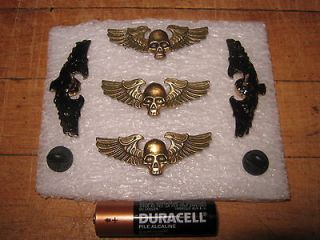WINGED Skull  Brass bronze PIN. Bikers; NOT A Harley pin