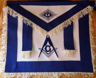 HAND EMBROIDED MASONIC MASTER MASON APRON DAX 02 WITH TABS, WF