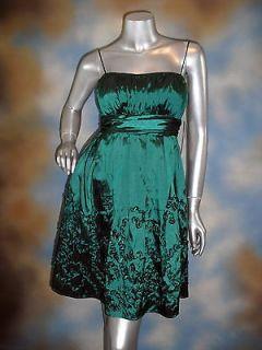 109 SL FASHIONS jeweltone emerald green applique bridesmaid dress 16P