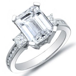 36 Ct. Elegant Emerald Cut Diamond Engagement Ring Princess & Round