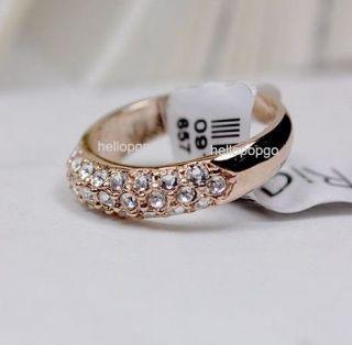 18K Rose Gold GP Swarovski Crystal Colorful Flower Ring Size 6,7,8,9