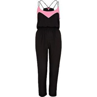 ASOS RIVER ISLAND Color Block Strappy Jumpsuit w Contrast Trim in