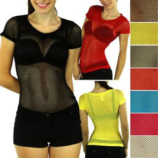 Sexy Colorful Top Blouse Fishnet T shirt DanceWear Seamless V Neck T9