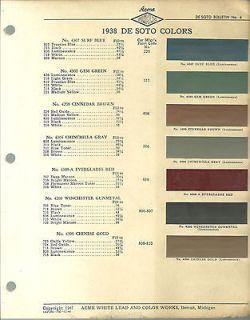 1938 DeSOTO Color Chip Paint Sample Brochure / Chart ACME, De Soto