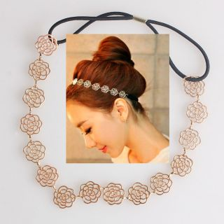 Hot Metallic Lady Hollow Rose Flower Elastic Hair Band Headband HOT