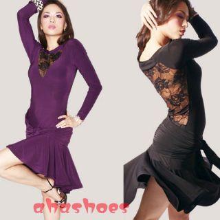 Long Sleeves Sexy Lace Tango Cha Cha Ballroom Skirt Latin Dance Dress