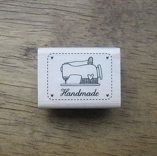 Decorative Stamps Rubber Stamp_Handmade Label sewing machine line
