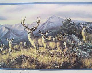 DEER BUCK DOE HUNTING in the MOUNTAINS Wallpaper Border 9