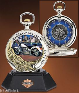Franklin Mint Harley Davidson Pocket Watch Set B11E306