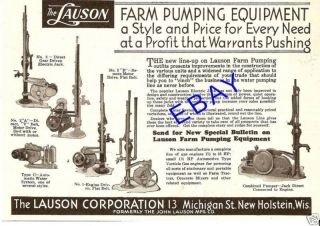 1930 LAUSON WATER WELL PUMP JACK AD NEW HOLSTEIN WI