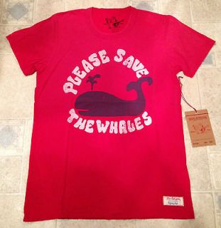 TRUE RELIGION Jeans Mens T Shirt LOVE WHALES SS CREW NECK TEE Red NEW