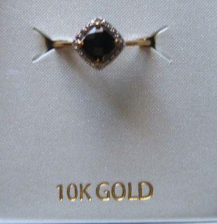 NIB 10K YELLOW GOLD BLK ONYX & DIAMOND RING SZ 7