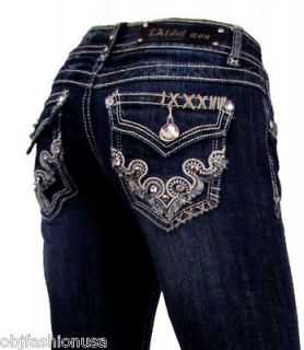 La Idol Bootcut Jeans Tribal Tattoo Rhinestones. 1 13
