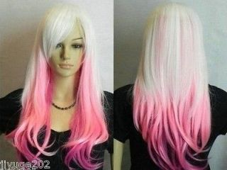 New White Mixed Pink Long wavy Cosplay womens human made hair wig+cap