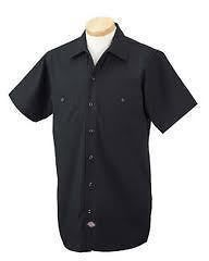 Dickies Mens Short Sleeve Industrial Work Shirt Classic BLACK NEW S