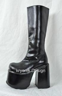 Demonia Chopper 100 goth gothic punk platform black knee high boots