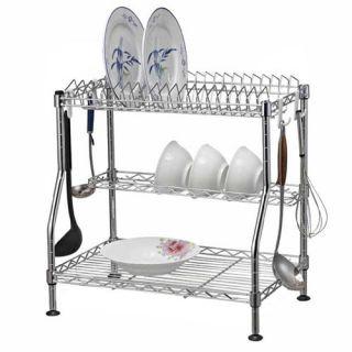 Tiers Dish Utensil Drying Rack, Dish Drainer, Chrome