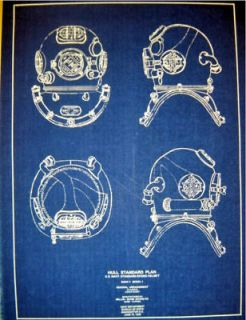 USN Mark V DIVING HELMET 1938 Blueprint Navy Hull Standard Plan 13x18