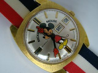 AUTOMATIC MICKEY MOUSE WATCH SUNBURST CASE & DIAL DAY DATE WALT DISNEY