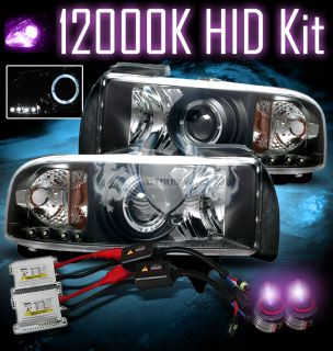 12000K HID 94 01 Dodge Ram Angel Eye Halo Ring Projector LED Black BLK