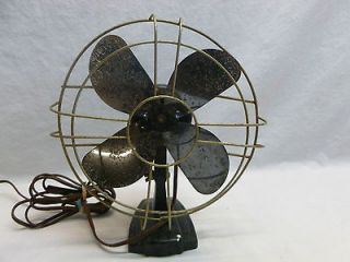 Antique Vtg Cast Iron Base Small Desk Fan Art Deco Steam Punk Machine