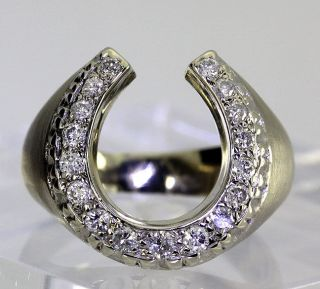 ESTATE .45CT 17 DIAMOND & 14K WHITE GOLD GOOD LUCK HORSESHOE RING