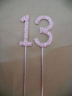Diamante 13 th Birthday Party Cake Topper Decoration Sparkly Pick