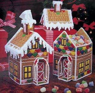 ENCHANTED COTTAGE, Plastic Canvas Pattern, GINGERBREAD HOUSE, SILVER