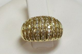 Newly listed Ring Gold Plated Large Faux Diamond Prong Set Cluster