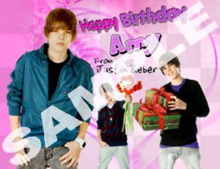 Justin Bieber ADD ANY NAME Happy Birthday NEW T shirt