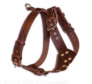 New Spiked&Studded Leather Dog Harness+Collar +Leashes SET more sizes